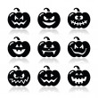 Halloween pumkin vector icons set — Stock Vector