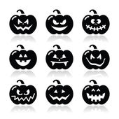 Halloween pumkin vector icons set — 图库矢量图片