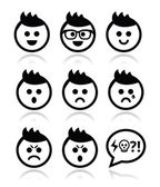 Man or boy with spiky hair faces icons set — Stock Vector