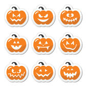 Halloween pumkin vector orange icons set — Stock Vector