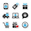 Present, shopping vector icons set — Stockvectorbeeld