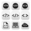 Programming code vector buttons set — Stock Vector