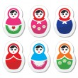 Russian doll, retro babushka vector icons set — Stock Vector