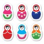 Russian doll, retro babushka vector icons set — Stock Vector #33747767