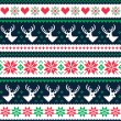Scandynavian winter seamless pattern with deer and hearts — Stock Vector