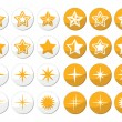 Gold stars vector round icons set — Stock Vector