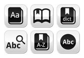 Dictionary book vector buttons set — Stock Vector