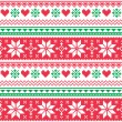 Nordic seamless knitted christmas red and green pattern — Stok Vektör