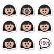 Girl or woman faces, avatar vector icons set — Stock Vector
