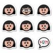 Girl or woman faces, avatar vector icons set — Stock Vector