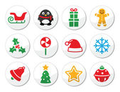 Christmas vector round icons set — Stock Vector