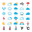 Weather forecast colorful vector icons set — Stock Vector