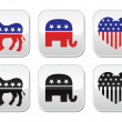 USA political parties button: democrats and repbublicans — Stock Vector