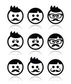Man with moustache or mustache, avatar vector icons set — Stock Vector