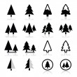 Pine tree vector icons set  — Stockvectorbeeld