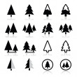 Pine tree vector icons set — Vector de stock