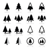 Pine tree vector icons set — Stock Vector