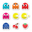 Pacman and ghosts 80's retro computer game icons — Stock Vector #34384771