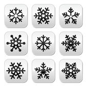 Snowflake winter vector buttons set — Stock Vector