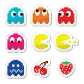 Pacman and ghosts 80's retro computer game icons — Stock Vector
