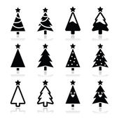 Christmas tree vector icons set — Stock Vector