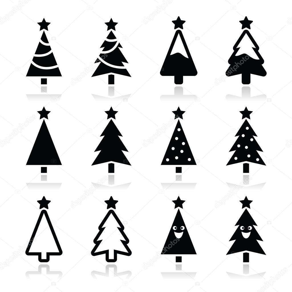 Christmas tree vector icons set — Stock Vector © RedKoala ...