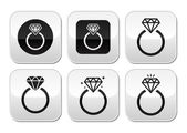 Diamond engagement ring vector knoppen set — Stockvector