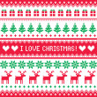 Stock Vector: I love Christmas pattern - scandynavian sweater style