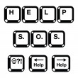 Keyboard keys buttons icons - help, s.o.s — Stock Vector