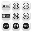 Under 21, adults only warning sign buttons — Stock Vector