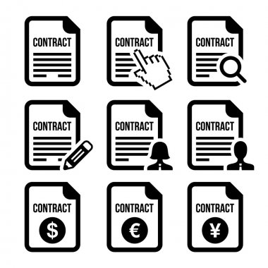 Business or work contract signing vector icons set