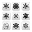 Christmas or winter Snowflakes vector buttons set — Stock Vector