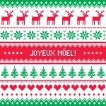 Joyeux noel card - scandynavian christmas pattern — Stock Vector