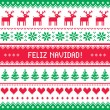 Feliz navidad card - scandynavichristmas pattern — Stock Vector #35019173