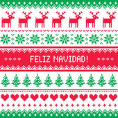 Feliz navidad card - scandynavian christmas pattern — Stock Vector