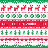 Feliz navidad card - scandynavian christmas pattern — Stock Vector
