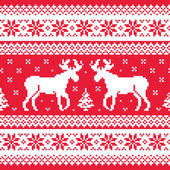 Christmas and Winter knitted pattern with reindeer — Stock Vector