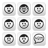 Man faces, avatar vector buttons set — Stock Vector