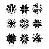 Christmas, winter snowflakes vector icons set — Stock Vector