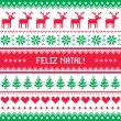 Feliz natal card - scandynavian christmas pattern — Stockvector