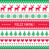 Feliz natal card - scandynavian christmas pattern — Stock Vector