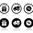 Free gift, free delivery, sale icons set — Stock Vector