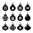 Christmas ball, christmas bauble vector icons set — Vecteur