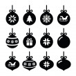 Christmas ball, christmas bauble vector icons set — Wektor stockowy