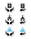 Religion icons - hands with bible, church, eye of god — Stock Vector