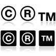 Copyright, trademark vector icons set — Stockvektor