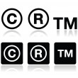 Copyright, trademark vector icons set — Vettoriale Stock