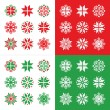 Christmas, winter red and green snowflakes vector icons set — Stock Vector #35663629