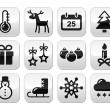 Christmas, winter red and green snowflakes vector icons set — Stock Vector