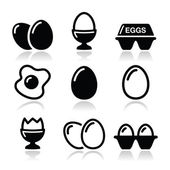 Egg, fried egg, egg box icons set — Vector de stock